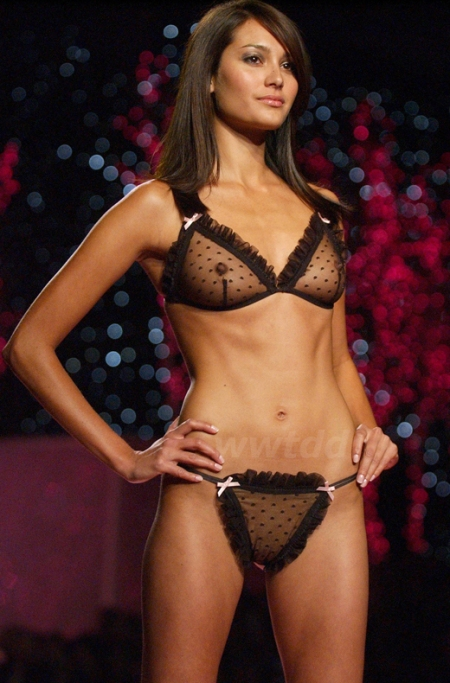 Emma Heming wearing black Victoria's Secret point D'Esprit bra a